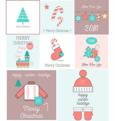 merry christmas greeting cards set vector image