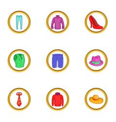 Modern clothes icon set cartoon style vector