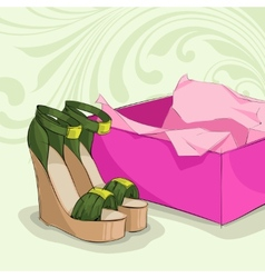 Modern womans green sandals vector image