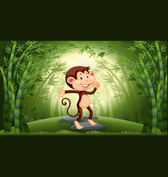 monkey in bamboo forest vector image