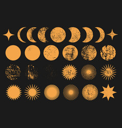 Moon phases sun planet star universe objects vector