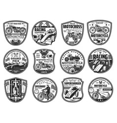motorcycle and car road race icons set vector image