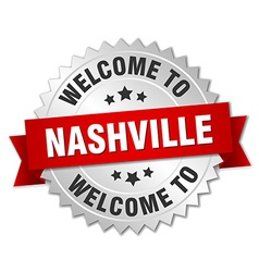 Nashville 3d silver badge with red ribbon vector