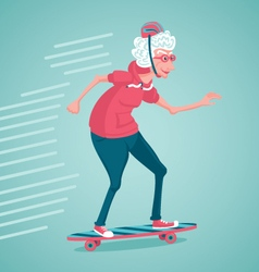 Old woman is skating vector image
