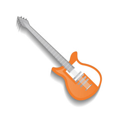 Orange classic acoustic guitar isolated icon vector