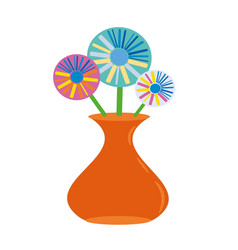orange vase of flowers vector image