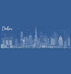 outline dubai uae skyline with white buildings vector image
