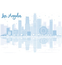 Outline Los Angeles skyline with blue buildings vector
