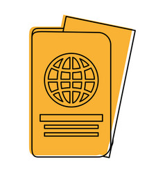Passport with paper coming out icon image vector