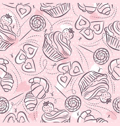 Pink seamless patterns with cupcake croissant and vector