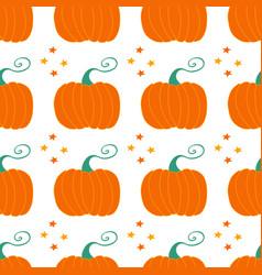 Pumpkin seamless pattern with stars decor harvest vector