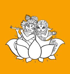 Radha krishna hindu god vector