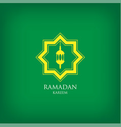 Ramadan kareem with arabic lantern on green vector