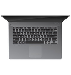 Realistic laptop computer top down view vector