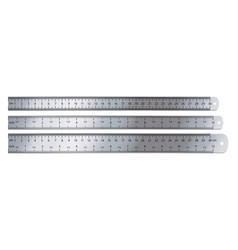 realistic metal ruler measuring tool 12 inches vector image