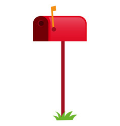 Red mailbox with yellow flag vector