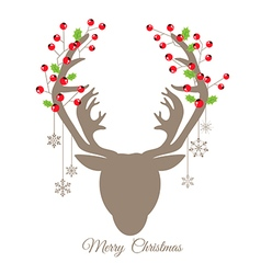 Retro reindeer and red berry for christmas card vector