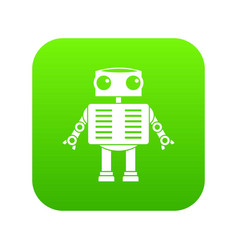 robot with big eyes icon digital green vector image