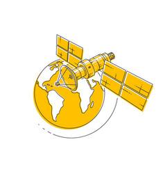satellite orbiting around earth spaceflight vector image