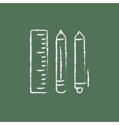 School supplies icon drawn in chalk vector