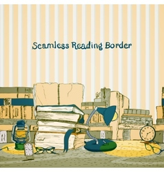 Seamless books reading border vector image