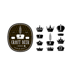 Set of crown icons for logo label and emblem vector