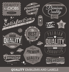 Signs emblems and labels quality and guaranteed vector