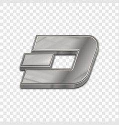 Silver dash coin trendy 3d style icon vector