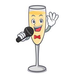 Singing champagne mascot cartoon style vector