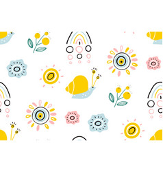 spring with rainbow sun flowers vector image