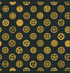 steampunk brass gears seamless pattern design vector image