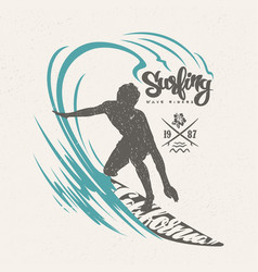 surfer and big wave t-shirt design vector image