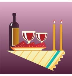 Table for two with cloth glasses bottle of wine vector