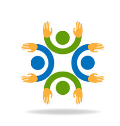 Teamwork friends together icon vector