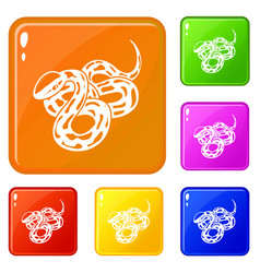 texas snake icons set color vector image