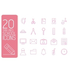 thin line office set icons school concept d vector image