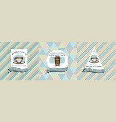Three colored labels with coffee vector