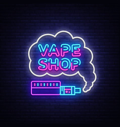 Vape shop logo neon vape neon sign design vector