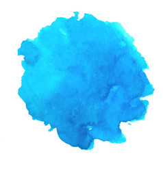 Watercolor blue splash abstract cyan blot vector