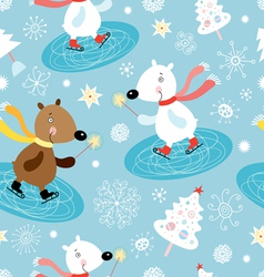 Winter texture of white bears vector