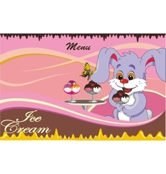 background - cartoon menu cafe for ice cream vector image vector image