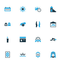 Holiday colorful icons set collection of placard vector