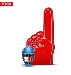 Lacrosse Sports Fan Foam Fingers and helmet vector image vector image