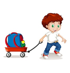 Little boy pulling cart with backpack on it vector