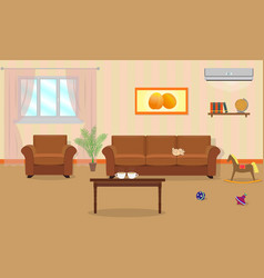 living room interior in orange colors including vector image vector image