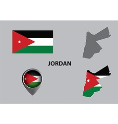 Map of Jordan and symbol vector image vector image