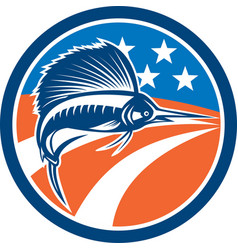 Sailfish Fish Jumping American Flag Circle Retro vector image vector image