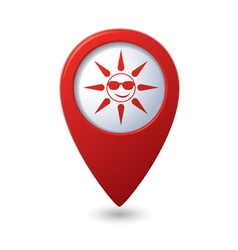Sun in sunglasses icon on map pointer vector image vector image