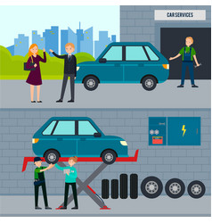 auto and tire services horizontal banners vector image vector image