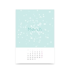 Calendar Page For March 2016 vector image vector image